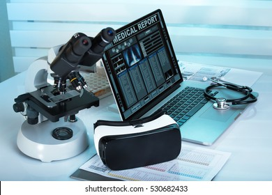 Virtual reality equipment in the laboratory / Laptop with remote diagnostic medical equipment