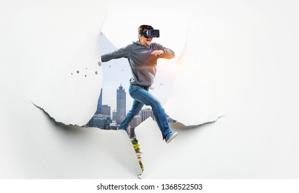 Virtual reality experience, technologies of the future. Mixed media