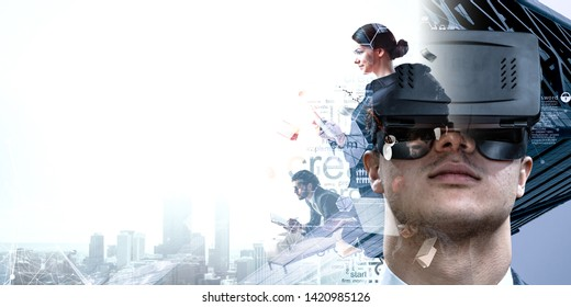 Virtual reality experience. Technologies of the future. Mixed media