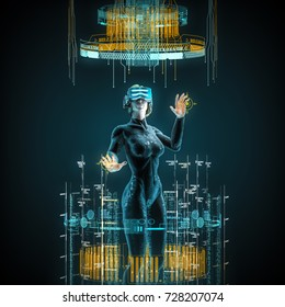 Virtual reality female user / 3D illustration of female figure in virtual gear working in cyberspace