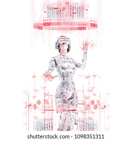 Virtual reality female user white / 3D illustration of female figure in virtual gear working in bright white virtual environment