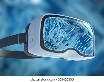 Virtual reality glasses, futuristic hacker, internet technology and network concept. Network security. Abstract modern virtual computer script.