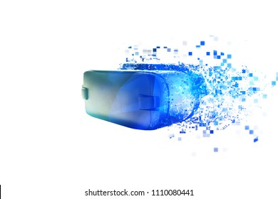 The virtual reality glasses are scattered by pixels or VR glasses with visual effects. The technology of the present and the future