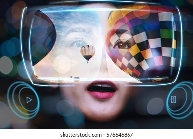 Virtual Reality Glasses Using By Young Women See a Beautiful Landscape View