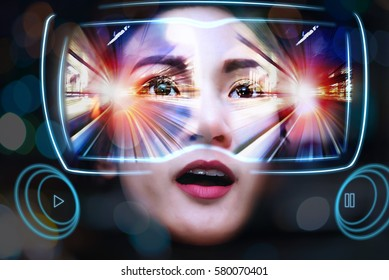 Virtual Reality Glasses Using By Young Women See a Beautiful fantastic View