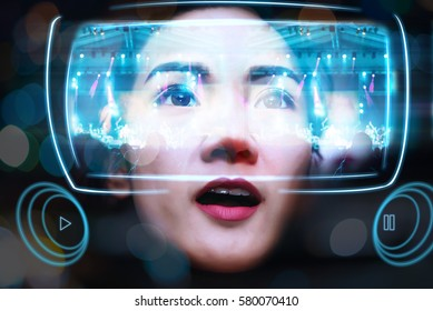 Virtual Reality Glasses Using By Young Women See a Beautiful Illustration light colors of Concert
