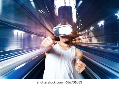 Virtual Reality Glasses Using By Young man See Beautiful simulation of amazing fantastic view Virtual yourself inside gadget