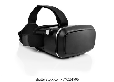virtual reality glasses (vr) half turned isolated on white background with mirror reflection