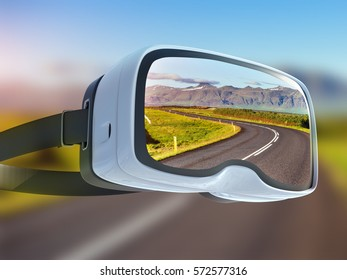 Virtual reality headset, double exposure, along the road at sunset