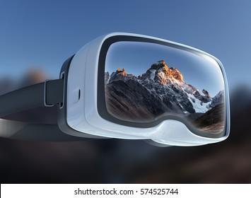 Virtual reality headset, double exposure. Thick fog on the mountain pass Goulet. Georgia, Svaneti. Europe. Caucasus mountains.