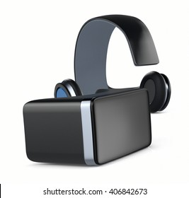 virtual reality headset on white background (3d render)