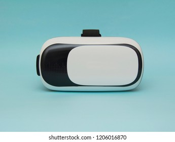 Virtual reality helmet isolated on the blue background