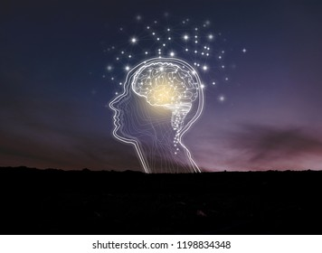 Virtual reality man with symbol neurons in brain / creative idea.Concept of idea and innovation / background night sky