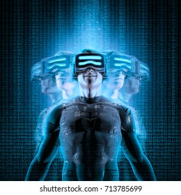 Virtual reality multitasking / 3D illustration of male figure in virtual gear among glitchy duplicates of himself
