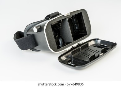 virtual reality simulator glasses for smartphone on white, vr experience