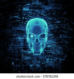 Virtual reality skull / 3D render of cyborg head surrounded by virtual data