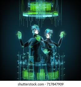 Virtual reality team / 3D illustration of male and female figures in virtual gear working in cyberspace