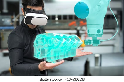 Virtual reality technology in industry 4.0. Business man suit wearing VR glasses to see AR service , Machine camera vision of smart robot arm machine in smart factory.
