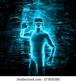 Virtual reality user / 3D render of man wearing virtual reality glasses surrounded by virtual data