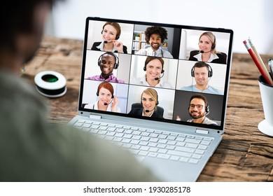 Virtual Remote Video Conference Call Or Webinar