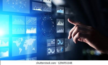 Virtual screen business intelligence dashboard, analytics and big data technology concept.