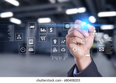 Virtual screen interface with applications icons. APPS. Work Business process in modern office. Strategy planning  Internet technology concept.