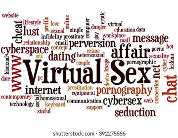 Virtual Sex, word cloud concept on white background.