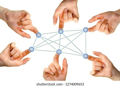 Virtual social network with several hands in front of white background