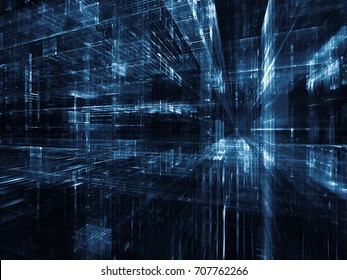 Virtual Space series. Abstract design made of 3D fractal design in perspective on the subject of information technology, computers and communications
