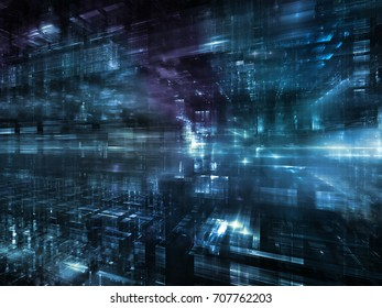 Virtual Space series. Composition of 3D fractal design in perspective suitable as a backdrop for the projects on information technology, computers and communications