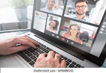 Virtual talking with friends, colleague and using video chat conference. Remote learning or work. Home quarantine or prevention of coronavirus infection (virus covid-19). Group of people smart working