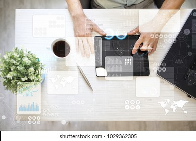 Virtual touch screen. Project management. Data analysis. Hitech technology solutions for business. Development. Icons and graphs background.  Internet and networking.