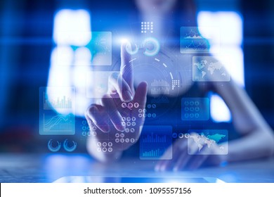 Virtual touch screen. Project management. Data analysis. Hitech technology solutions for business. Development. Icons and graphs background.  Internet and technology.