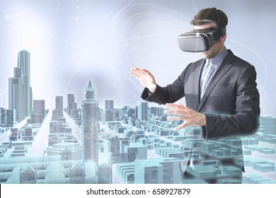 virtual tourism concept: man with vr glasses surfing a 3d holographic london city