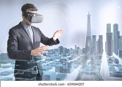 virtual tourism concept: man with vr glasses surfing a 3d holographic paris city