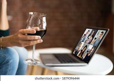 Virtual Wine Tasting Dinner Event Online Using Laptop