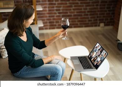 Virtual Wine Tasting Dinner Event Online Using Laptop - Shutterstock ID 1879396447