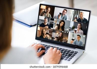 Virtual Wine Tasting Dinner Event Online Using Laptop - Shutterstock ID 1879396468