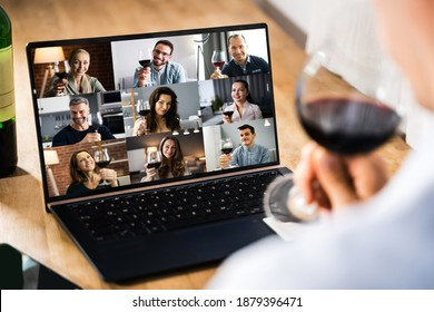 Virtual Wine Tasting Dinner Event Online Using Laptop - Shutterstock ID 1879396471