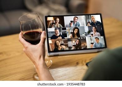 Virtual Wine Tasting Dinner Event Online Using Laptop - Shutterstock ID 1935448783