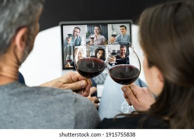 Virtual Wine Tasting Online Event On Laptop