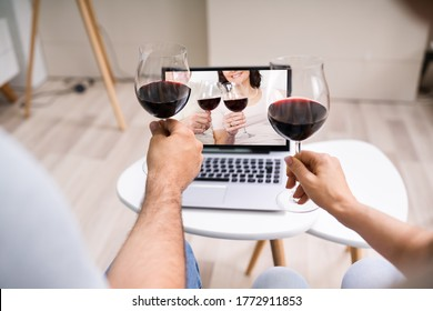 Virtual Wine Tasting Using Laptop. Online Party And Drinks - Shutterstock ID 1772911853