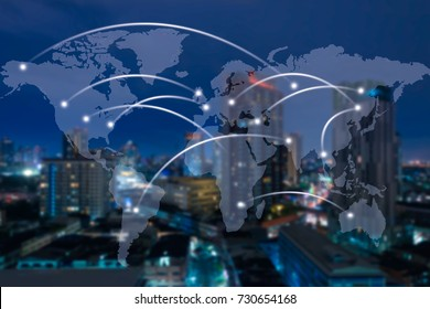 Virtual world map with connexions network on cityscape in the night background