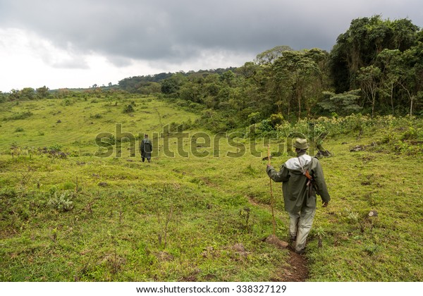 Virunga National Park, DR.Congo - October 5th 2015 - Two rangers patrolling inside the Virunga National Park in DRC, Central Africa.