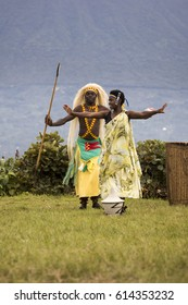 Virunga, Rwanda - March 1, 2017 : Couple of dancers in Rwanda native dance troop, Virunga, Africa
