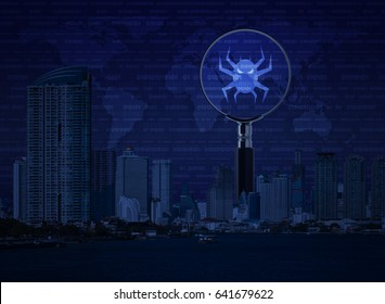Virus computer icon on magnifying glass with office city tower, river, digital world map and binary code, Business internet security concept, Elements of this image furnished by NASA