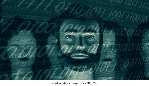 Virus cyber attack, binary code background