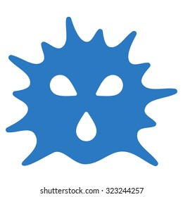 Virus Structure glyph icon. Style is flat symbol, smooth blue color, rounded angles, white background.