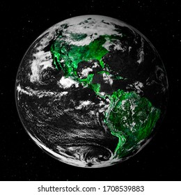 Virus World. The green pandemic spread through population centres on the world. Covid-19 Corona Virus. Elements of the image furnished by NASA