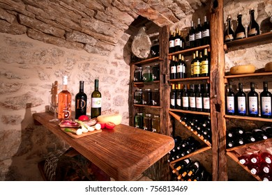 VIS / CROATIA - AUG 15, 2017: Old wine cellar Golub in Podselje, Vis is full of quality wines and other home made produce